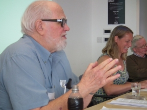 Paul Schlueter (left) speaks on Lessing and opera, with Alice Ridout and David Punter